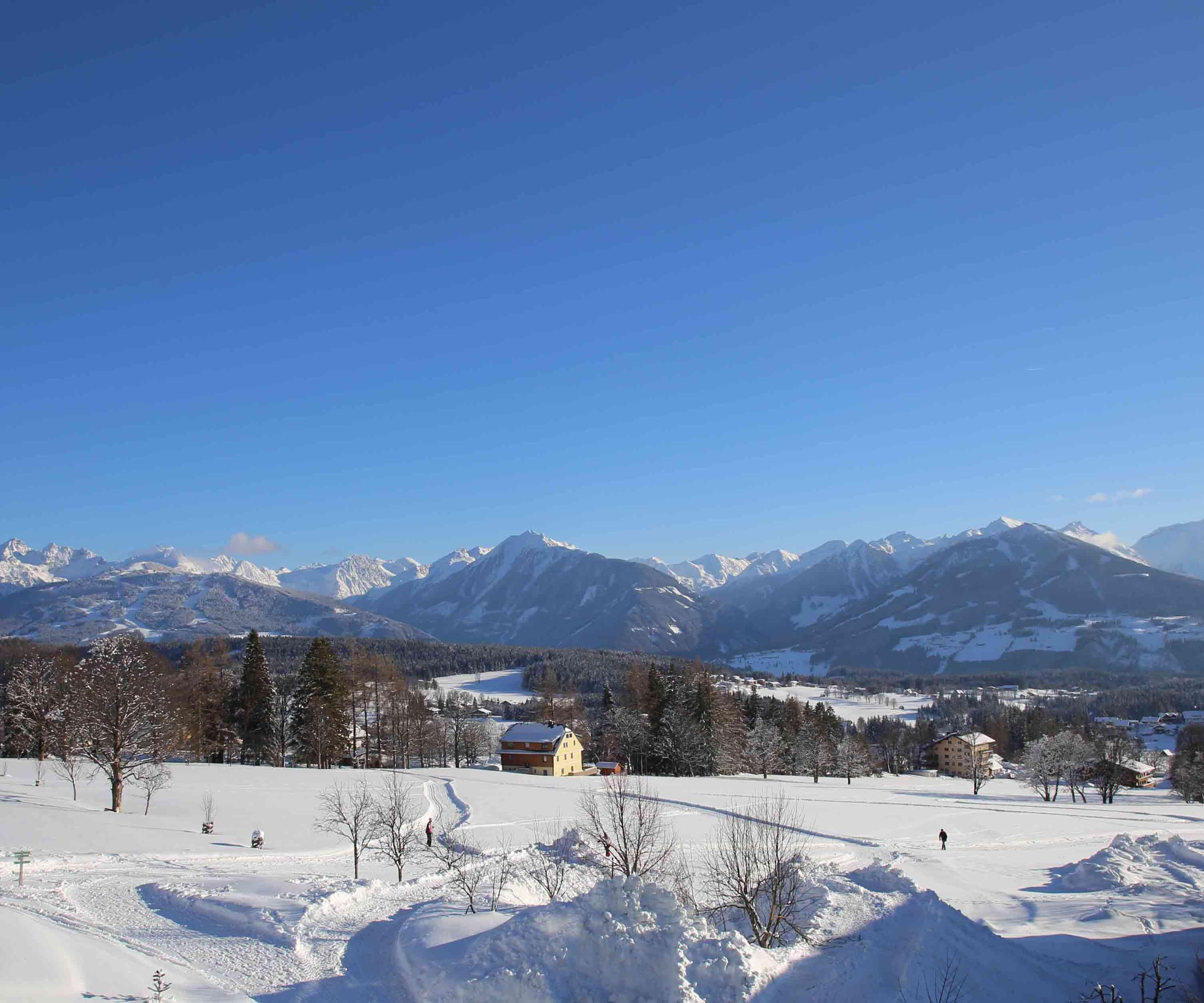 Aussicht im Winter, direkt an der Loipe